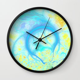 Streams of Joy – Abstract Cosmic Aqua & Lemon Wall Clock
