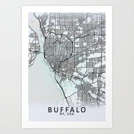 Buffalo NY USA White City Map Art Print
