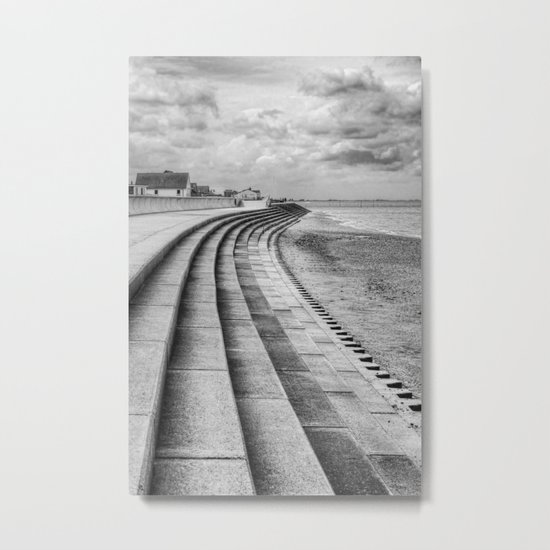 North Beach, Heacham, Norfolk, UK (Monochrome) Metal Print
