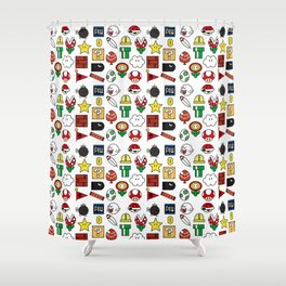 Super Mario Pattern Color Shower Curtain