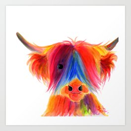 Scottish Highland Cow ' PANCAKE ' by Shirley MacArthur Art Print