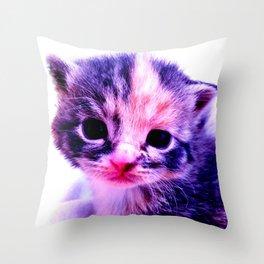 Blue Pink Cute Little Cat Throw Pillow
