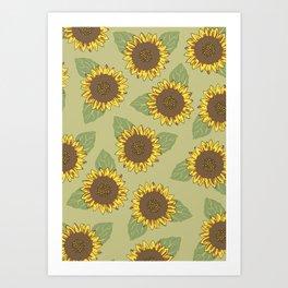 Vintage Sunflowers Art Print