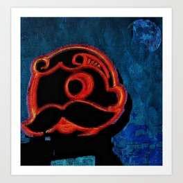 Chalk sketch of Natty Boh Tower at night Art Print