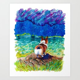 Corgi - sea admirer Art Print