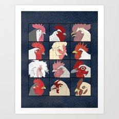 Rooster Face vertical Art Print