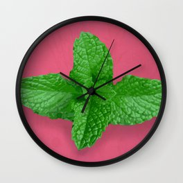 Mint on Pink Wall Clock