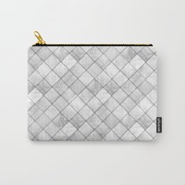 Faux Patchwork Quilting - White & Silver Pattern Carry-All Pouch