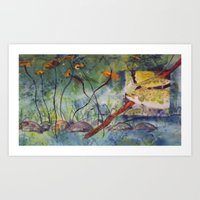 Magnified pond view  Art Print