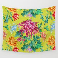 oriental Wall Tapestries featuring Oriental Flowers by Chicca Besso