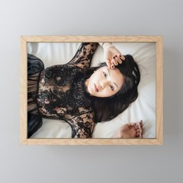 Asian Woman Lying On A Bed Framed Mini Art Print