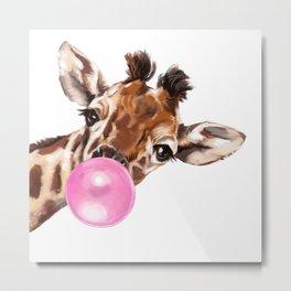 Bubble Gum Sneaky Giraffee Metal Print