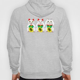 Three Wise Lucky Cats Hoody