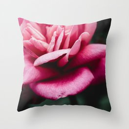 Moody Pink Rose Throw Pillow