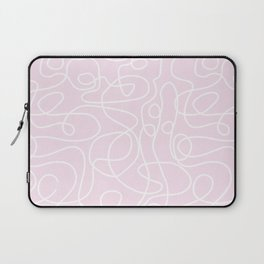 Doodle Line Art | White Lines on Palest Pink Laptop Sleeve