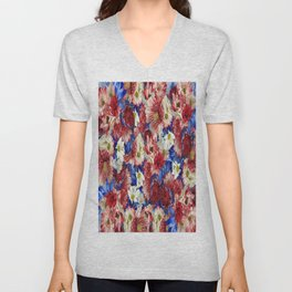 Red White Blue Flora Unisex V-Neck