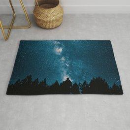 Blue Milky Way At Night Pine Tree Silhouette Stars Night Time Rug