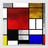 mondrian Canvas Prints featuring Luxury Mondrian by Dizzy Moments