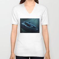 orca V-neck T-shirts featuring Orca by Wesley S Abney