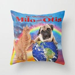 Milo And Otis Take On The World Throw Pillow