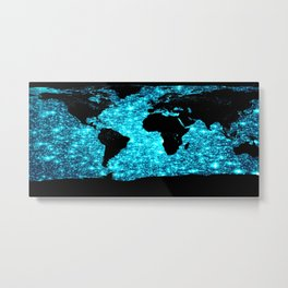 wOrld map Turquoise Sparkle Metal Print