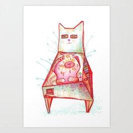 Cat Pinball Art Print