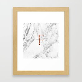 Monogram rose gold marble F Framed Art Print