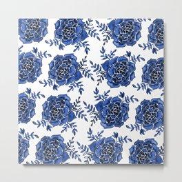 Watercolor houseleek - blue Metal Print