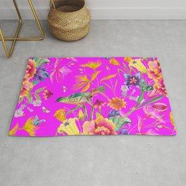 Bold Summer Print on Magenta Pink Rug