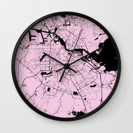 Amsterdam Pink on Black Street Map Wall Clock