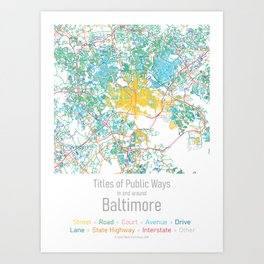 Titles of Public Ways in and around Baltimore Art Print