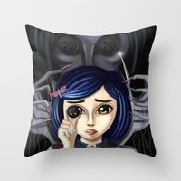 coraline Throw Pillows featuring Coraline and the secret door by Artik