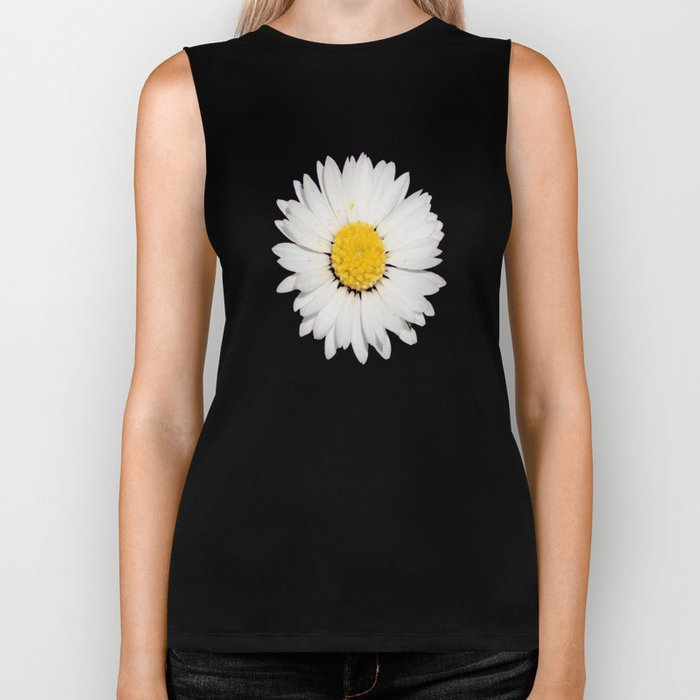 Nine Common Daisies Isolated on A Black Backgound Biker Tank