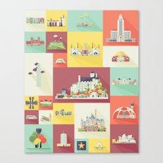 Los Angeles Landmarks Canvas Print