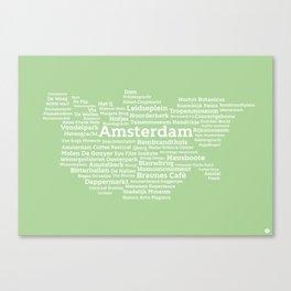 Typographic City: Amsterdam Canvas Print
