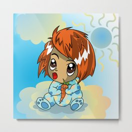Cute ginger haired baby with a carrot Metal Print