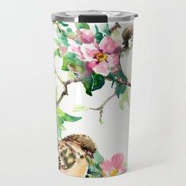 Sparrows and Apple Blossom, spring floral bird art Travel Mug