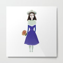 A girl in retro fashion Metal Print