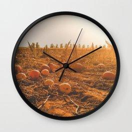 sunny hazy fall pumpkin patch Wall Clock