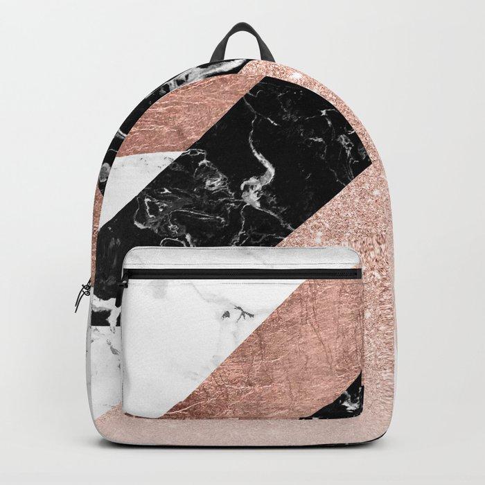 Modern rose gold glitter foil black white marble geometric minimalist triangles color block Rucksack