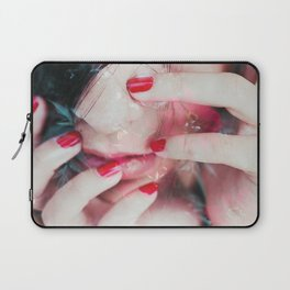 Face surrounded by flowers Laptop Sleeve