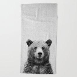 Grizzly Bear - Black & White Beach Towel