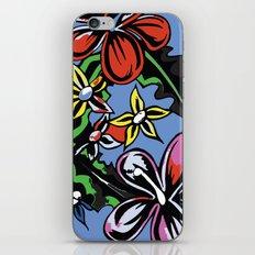 tropical flowers blue iPhone & iPod Skin