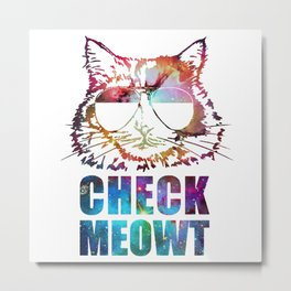 Check Meowt Cat Sunglasses nebula Metal Print