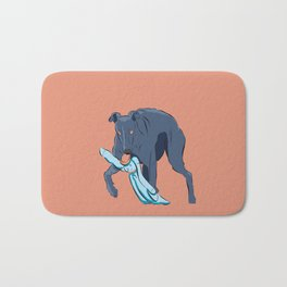 Greyhound catches the rabbit Bath Mat