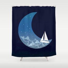 Moon Sailing Shower Curtain