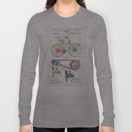 Colorful Bike Art - Vintage Patent - By Sharon Cummings Long Sleeve T-shirt