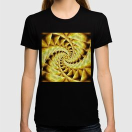 Smoky spiral stairs to floral centre T-shirt