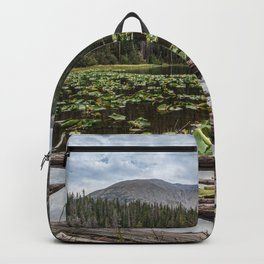 Rustic Lake // Lilly Pond Green Leaves Logs and Natural Mountain Woodland Beauty Backpack