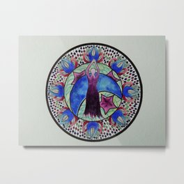 Goddess of Moon and Stars Metal Print